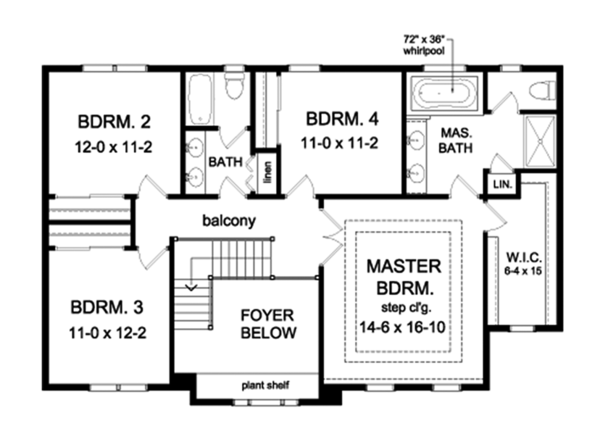 Colonial Floor Plan - Upper Floor Plan Plan #1010-162