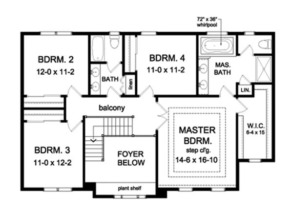 Colonial Floor Plan - Upper Floor Plan Plan #1010-162