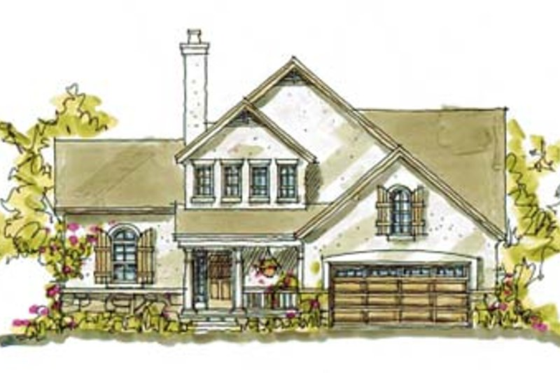 European Style House Plan - 3 Beds 2.5 Baths 1818 Sq/Ft Plan #20-244 Exterior - Front Elevation