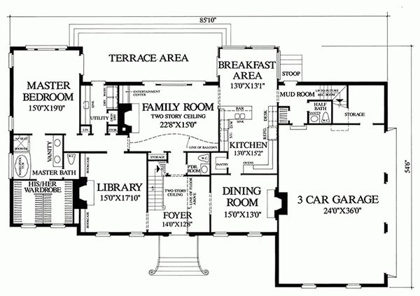 Southern Floor Plan - Main Floor Plan Plan #137-170