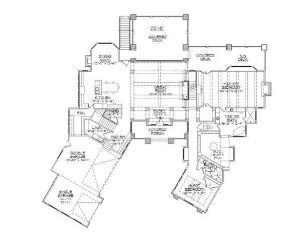 Craftsman Floor Plan - Main Floor Plan Plan #945-140