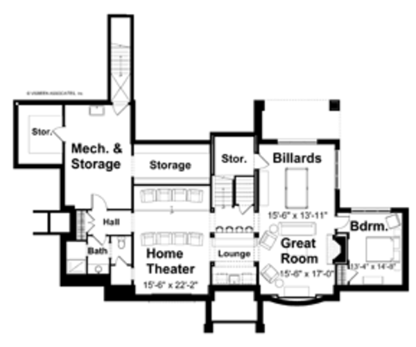 Craftsman Floor Plan - Lower Floor Plan Plan #928-19