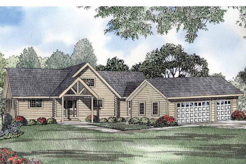 Log Exterior - Front Elevation Plan #17-2991 - Houseplans.com