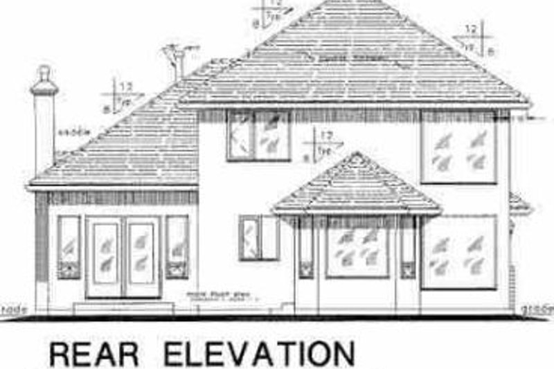 European Exterior - Rear Elevation Plan #18-267 - Houseplans.com