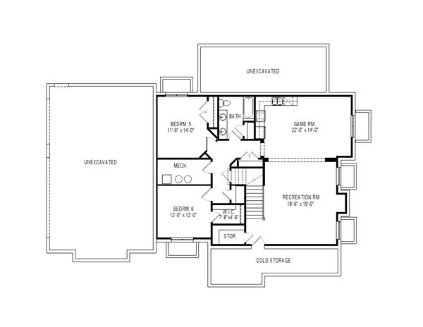 Craftsman Floor Plan - Lower Floor Plan Plan #920-74