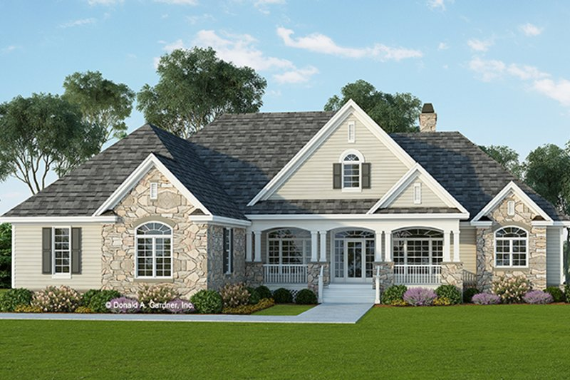 Country Exterior - Front Elevation Plan #929-955