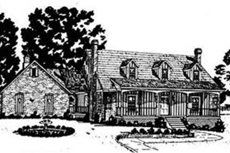 Country Style House Plan - 4 Beds 2.5 Baths 2254 Sq/Ft Plan #36-197 Exterior - Front Elevation
