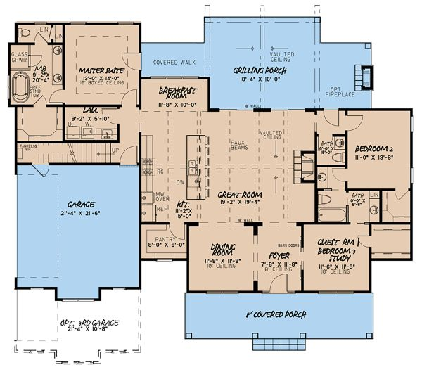 Country Floor Plan - Main Floor Plan Plan #923-132