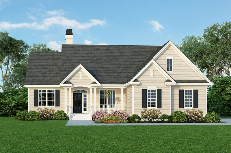 Ranch Style House Plan - 3 Beds 2 Baths 1590 Sq/Ft Plan #929-478 Exterior - Front Elevation