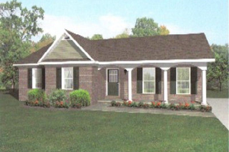European Style House Plan - 3 Beds 2 Baths 1238 Sq/Ft Plan #14-247 Exterior - Front Elevation