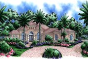 Mediterranean Style House Plan - 4 Beds 4.5 Baths 5015 Sq/Ft Plan #27-523 Exterior - Front Elevation