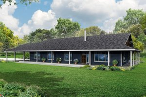 Ranch Exterior - Front Elevation Plan #124-965