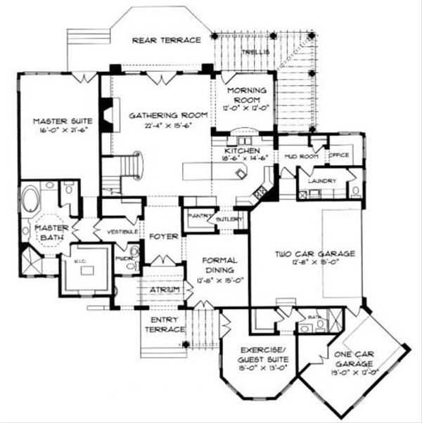 European Floor Plan - Main Floor Plan Plan #413-119