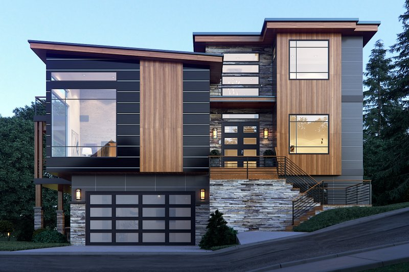 Architectural House Design - Contemporary Exterior - Front Elevation Plan #1066-34