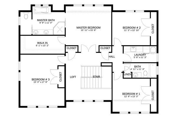 Craftsman Floor Plan - Upper Floor Plan #1060-55