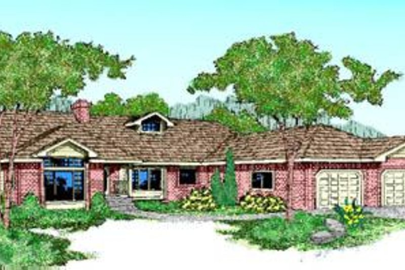Traditional Style House Plan - 5 Beds 2 Baths 2606 Sq/Ft Plan #60-220 Exterior - Front Elevation