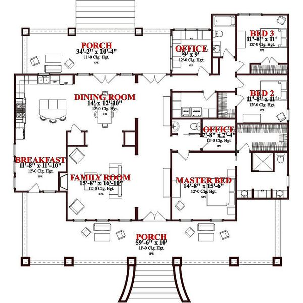 Craftsman Floor Plan - Main Floor Plan Plan #63-343