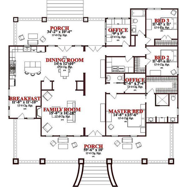 Craftsman Floor Plan - Main Floor Plan #63-343