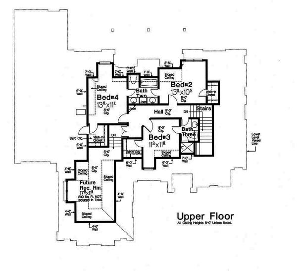 European Floor Plan - Upper Floor Plan Plan #310-1292