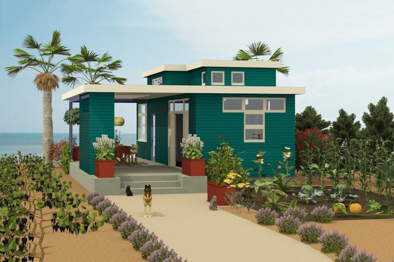Contemporary Style House Plan - 1 Beds 2 Baths 584 Sq/Ft Plan #917-5