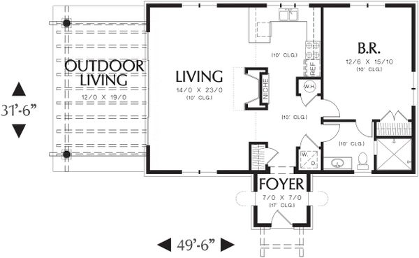Main Level Floor Plan - 1000 square foot Mediterranean home