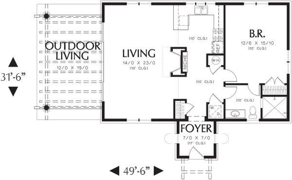 House Plan Design - Main Level Floor Plan - 1000 square foot Mediterranean home