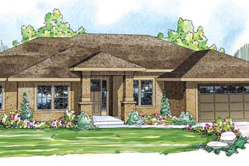 Prairie Exterior - Front Elevation Plan #124-847