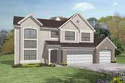 European Style House Plan - 4 Beds 3 Baths 2770 Sq/Ft Plan #50-290 Exterior - Front Elevation