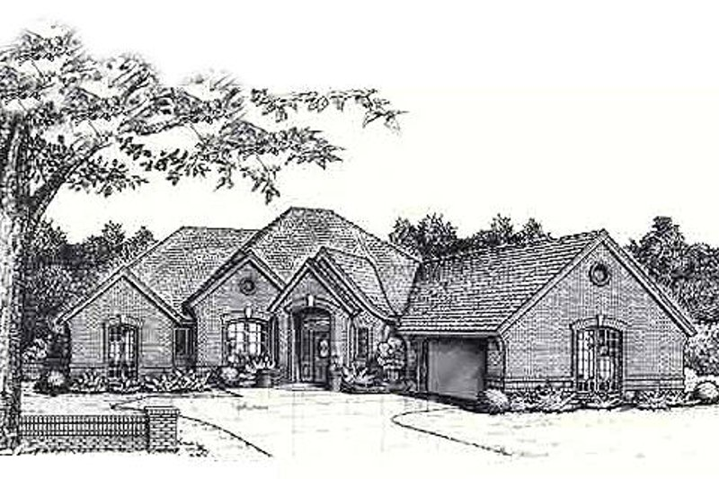 European Style House Plan - 4 Beds 2.5 Baths 2653 Sq/Ft Plan #310-843 Exterior - Front Elevation