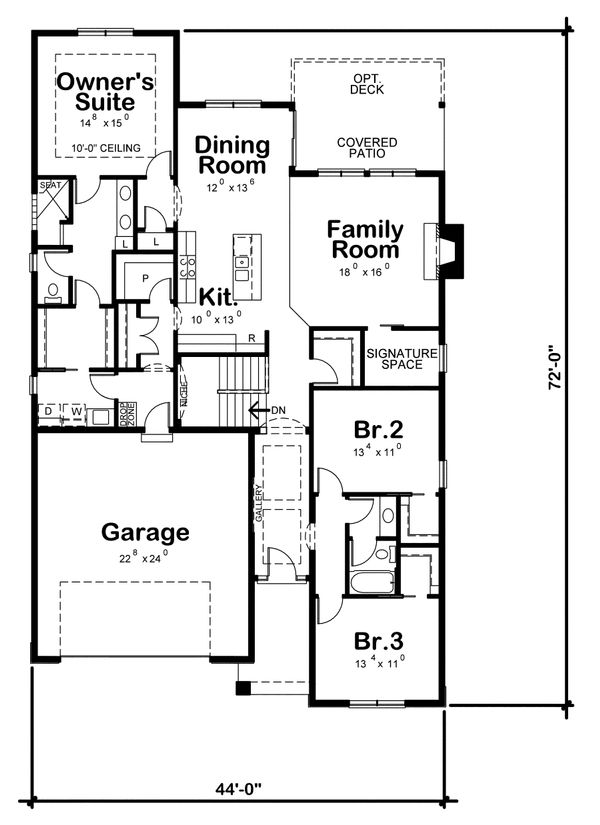 Ranch Floor Plan - Main Floor Plan Plan #20-2298