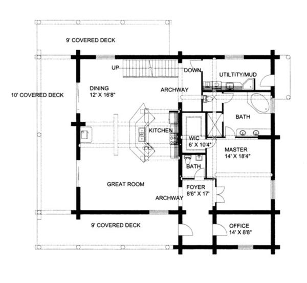 House Plan Design - Log Floor Plan - Main Floor Plan #117-826