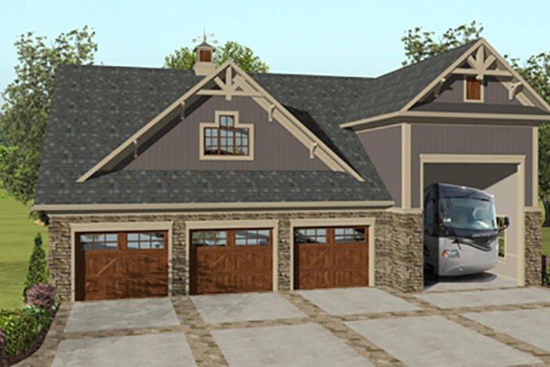 Home Plan - Craftsman, Front Elevation, RV Garage