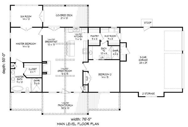 Country Floor Plan - Main Floor Plan #932-60