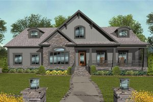 Architectural House Design - Craftsman Exterior - Front Elevation Plan #56-699