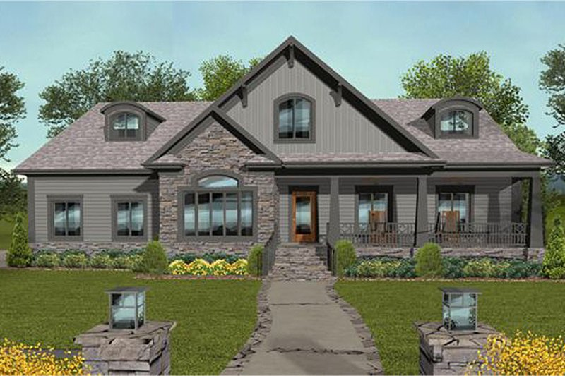 Craftsman Exterior - Front Elevation Plan #56-699