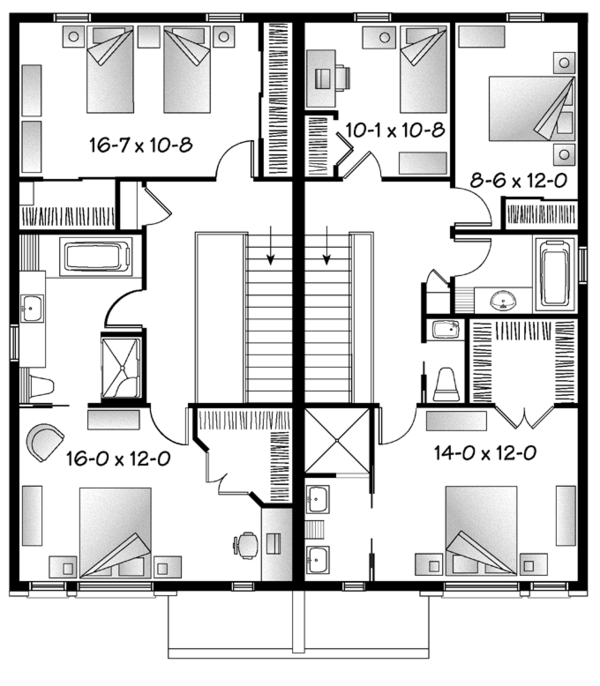Contemporary Floor Plan - Upper Floor Plan Plan #23-2596