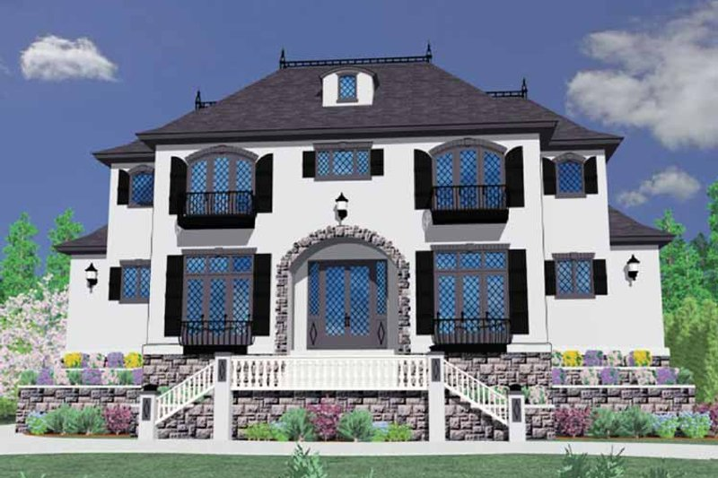 Mediterranean Exterior - Front Elevation Plan #509-399