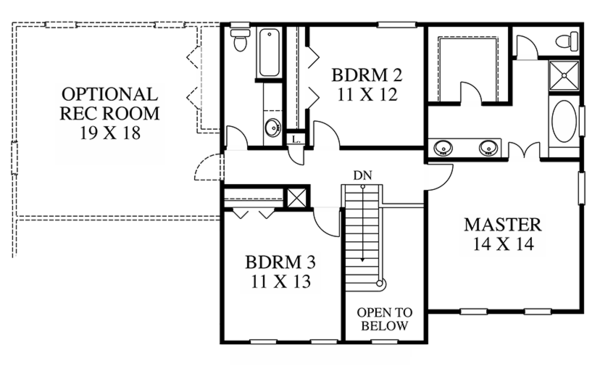 Colonial Floor Plan - Upper Floor Plan Plan #1053-65
