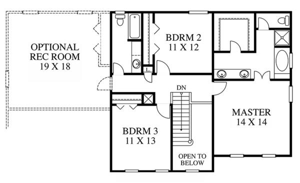 Dream House Plan - Colonial Floor Plan - Upper Floor Plan #1053-65