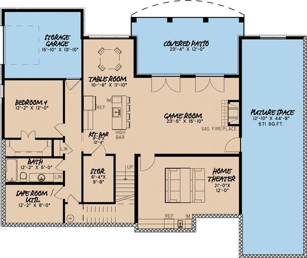 European Floor Plan - Lower Floor Plan Plan #923-3