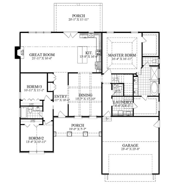 Ranch Floor Plan - Main Floor Plan Plan #1071-14