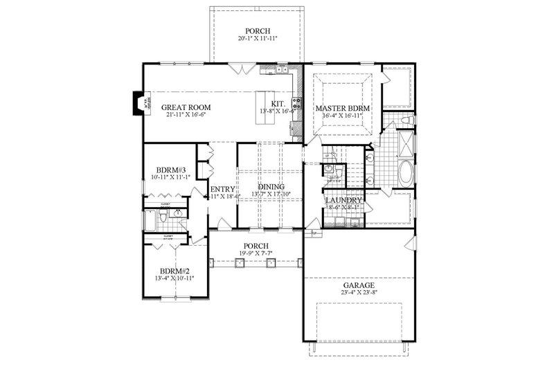 Ranch Floor Plan - Main Floor Plan Plan #1071-14