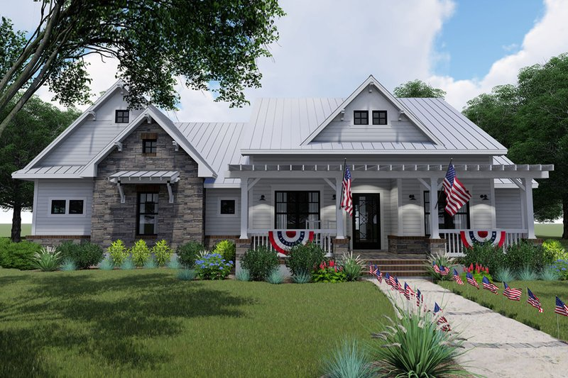 Home Plan - Farmhouse Exterior - Front Elevation Plan #120-256