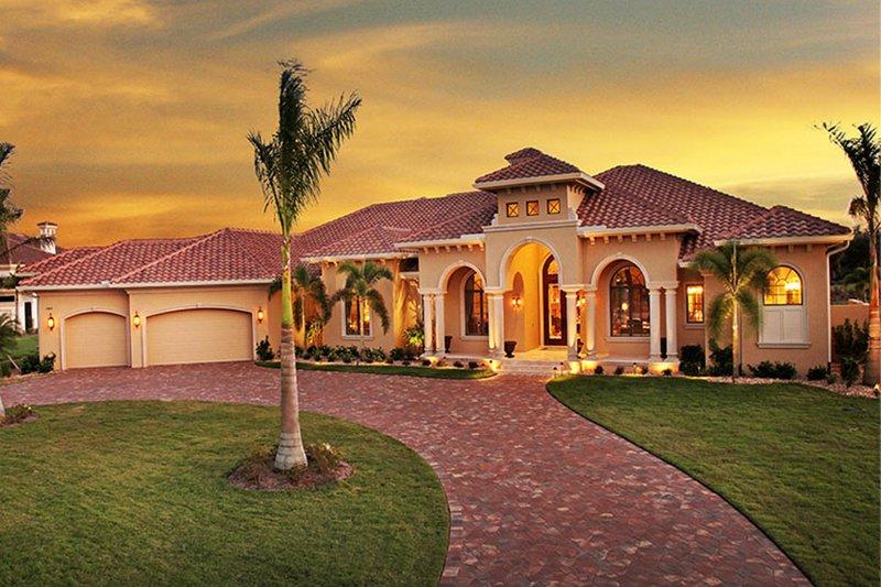 Architectural House Design - Mediterranean Exterior - Front Elevation Plan #1017-161