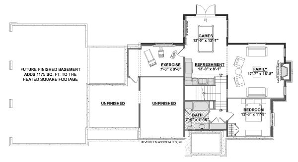 Dream House Plan - Cottage Floor Plan - Lower Floor Plan #928-327