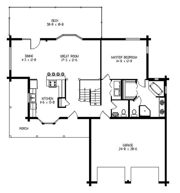 Log Floor Plan - Main Floor Plan Plan #964-11