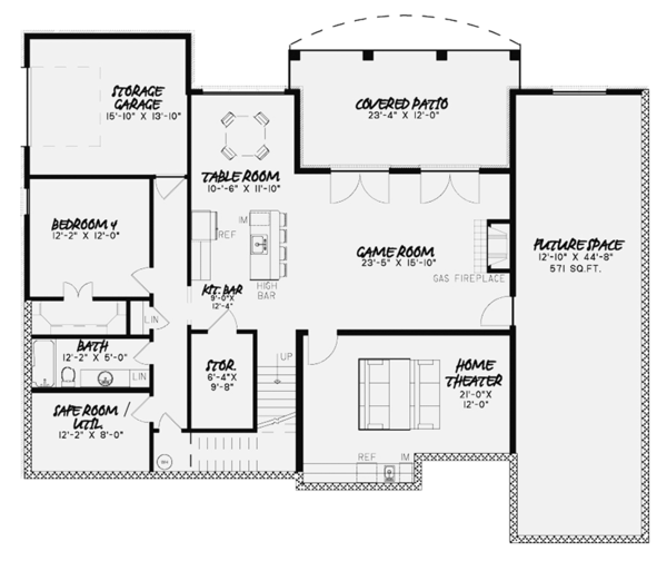 Country Floor Plan - Lower Floor Plan Plan #17-3374