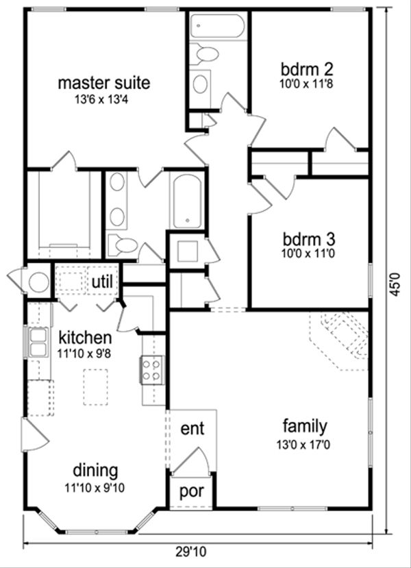 Traditional Floor Plan - Main Floor Plan Plan #84-541