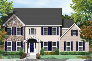 Colonial Exterior - Front Elevation Plan #1053-61