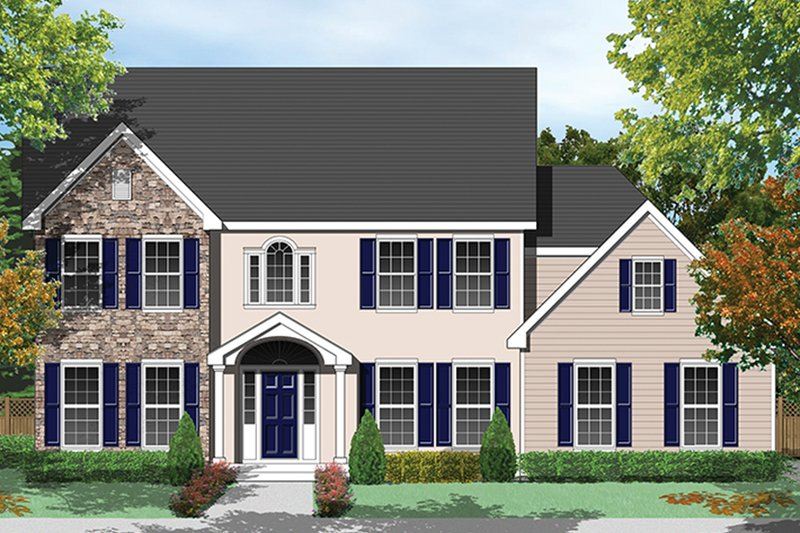 Architectural House Design - Colonial Exterior - Front Elevation Plan #1053-61